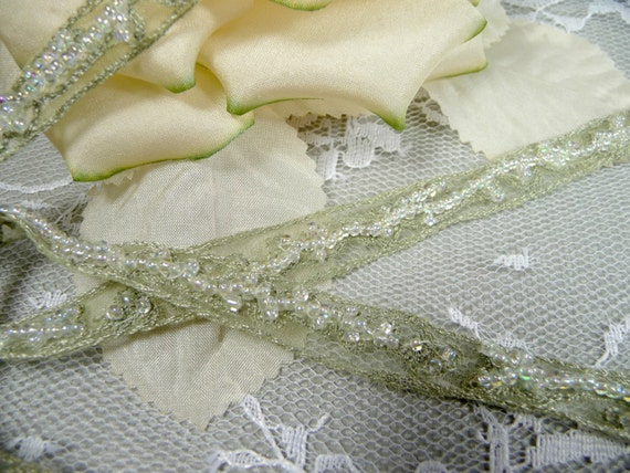 Beaded Trim Pale Sage Green Ribbon Embroidered Pearl Beads