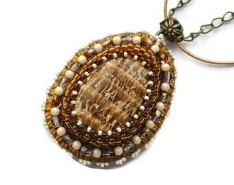 Semiprecious stone Pendant, bead embroidery necklace. Aragonite.