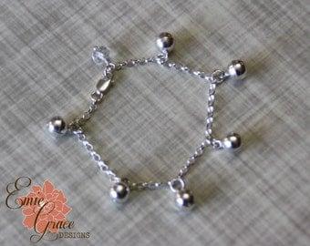 Sterling Silver Bells Anklet, Infant Jewelry, Baby Ankle Bracelet