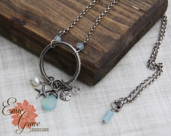READY TO SHIP - Beach Necklace, Sterling Silver Ring with Sandollar and Starfish, Freshwater Pearl, Blue Chalcedony, Clear Quartz Gemstone