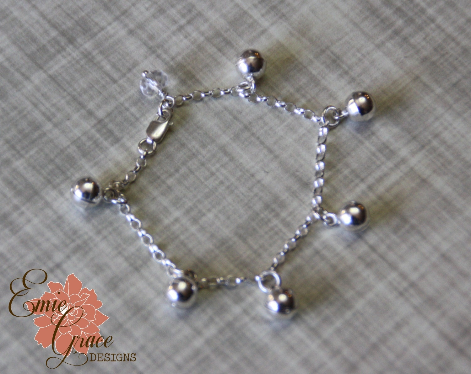 sterling silver bells anklet infant jewelry baby ankle