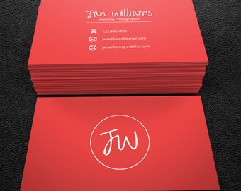 Premade Business Card Design - Print Ready - Printable Business Card- Simple Red - PDF & JPEG - 300 DPI