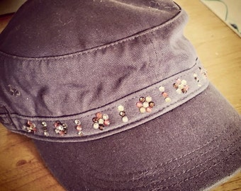 Brown Military Distressed Cap w/ Crystals