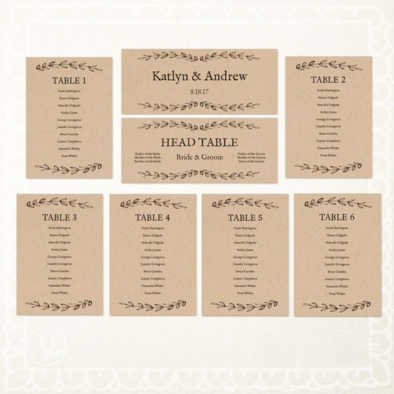 printable wedding seating chart rustic seating chart