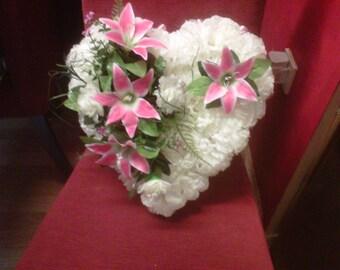 silk tribute memorial heart wreath