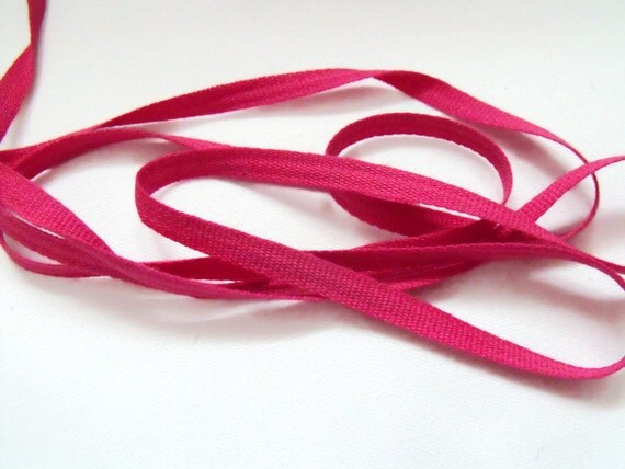 10 metres of 7mm pink flat cotton tape, bunting tape, craft tape, cotton ribbon, herringbone tape