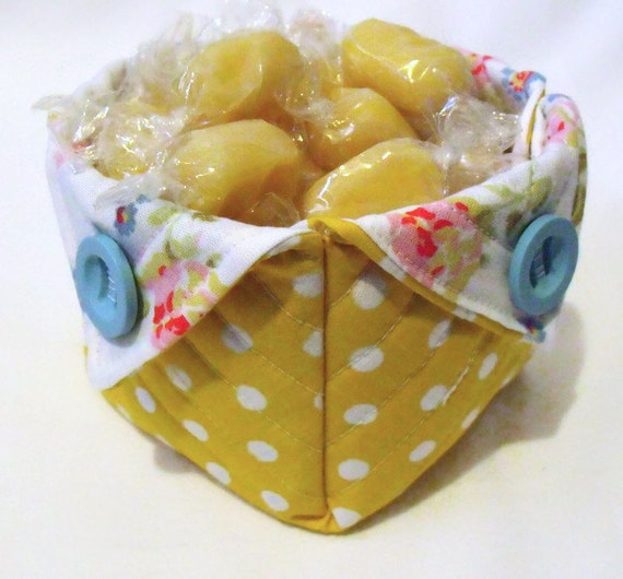 fabric basket, quilted pot, quilted storage pot, bits and bobs storage, square floral desk tidy, yellow polka dots,
