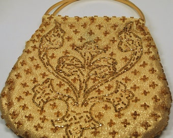 Vintage Gold Beaded Purse Pouch Walberg Hand Made in Hong Kong 1960s Excellent Condition