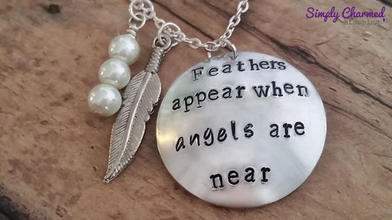 When Feathers Appear Angels Are Near Necklace