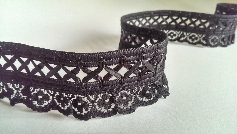 """1 yd 1 1/4""""W Black Lace Trim, Lattice Trim, Lattice Lace Trim, Gothic, Lolita, Burlesque, Steampunk, Corset Trim, Bustiers Costumes steampunk buy now online"""