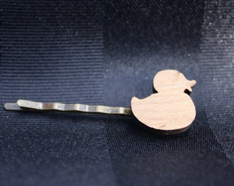 Lasercut duck hair slide - girl's bobby pin - cute bobby pin - girl's hair slide - cute hair slide - hair accessory - wooden bobby pin