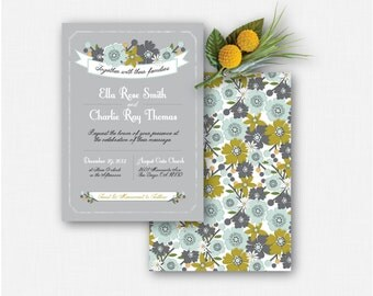 Gray Teal & chartreuse Floral Patterned Electronic DIY Wedding Invitation Set