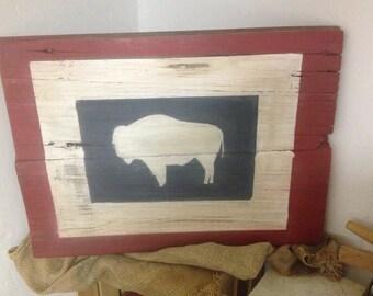 Wyoming Flag Barnwood Sign