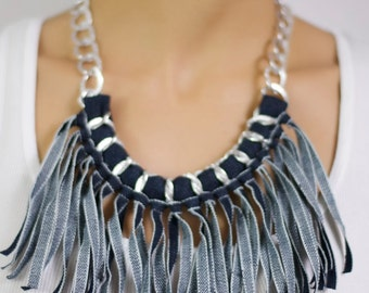 Denim Necklace, Fringe Necklace, fabric fringe necklace, Jeans necklace, Blue Denim Necklace, Denim and Silver chain necklace