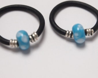 Handmade Sterling Silver, Black Rubber and Blue Lampwork Bead Ring .