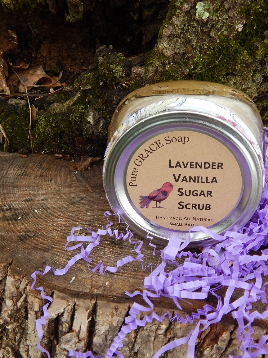 Lavender Vanilla Sugar Scrub Bath Gifts Vegan by PureGRACESoap