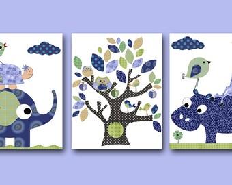 Items Similar To Baby Nursery Art Room Decor Elephant Blue And Green Elephants Three