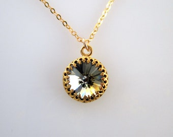 Crystal Black Gold Necklace, Black And Gold Necklace, Black Necklace, Black Gold Necklace, Black Crystal Necklace, Crystal Gold Necklace