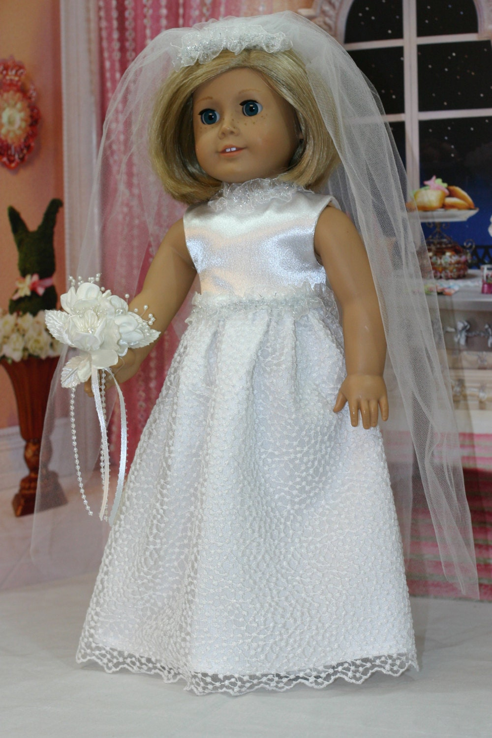 American girl wedding gown 18 inch doll wedding dress full for American girl wedding dress