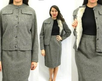 60s Grey Wool Suit | Rabbit Fur Lined Jacket and Skirt | Medium