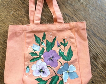 Peach Canvas Bag with hand painted pansies