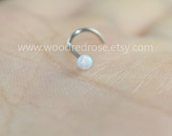 More Colors for choice! White Fire Opal Stud Nose Ring,Nose Piercing ,white opal piercing jewelry