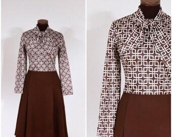 Vintage 60s 70s Brown Bow Tie Square Print Dress M/L
