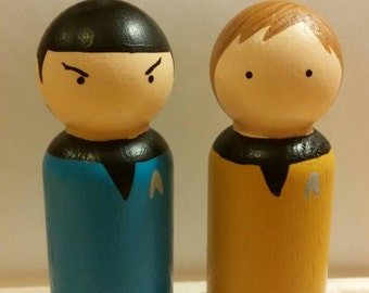 Mr. Spock and Captain Kirk Peg Doll Set