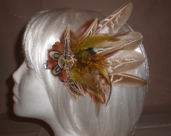 Fuzzy Brown and Tan Feather Hair Piece