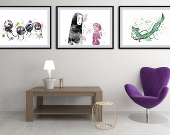 Set of 3 Spirited Away Poster - Chihiro and No Face, Sprites, Dragon Haku Watercolor Art Print Wall Art - Giclee Wall Decor Art Home Decor