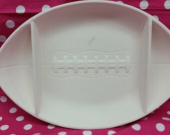 SALE  was 20.00 Now 14.00 DIY, Ready to Paint Ceramic Football Plate, Chip n Dip Tray,  (See