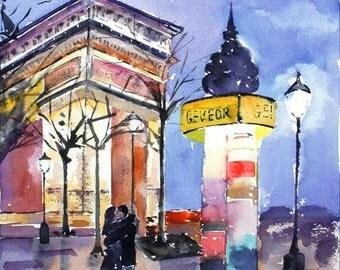 Watercolor painting, original watercolor painting, Paris by Lisa Fu
