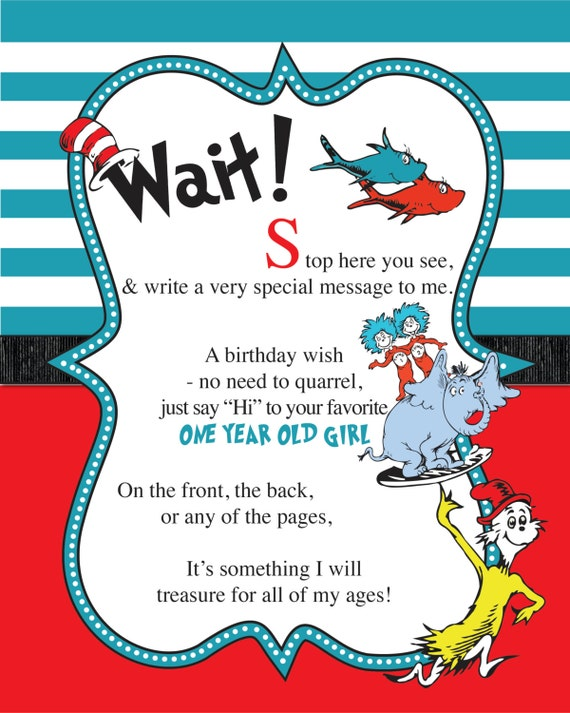 Items similar to Dr. Seuss Guest Book Sign (Girl ...
