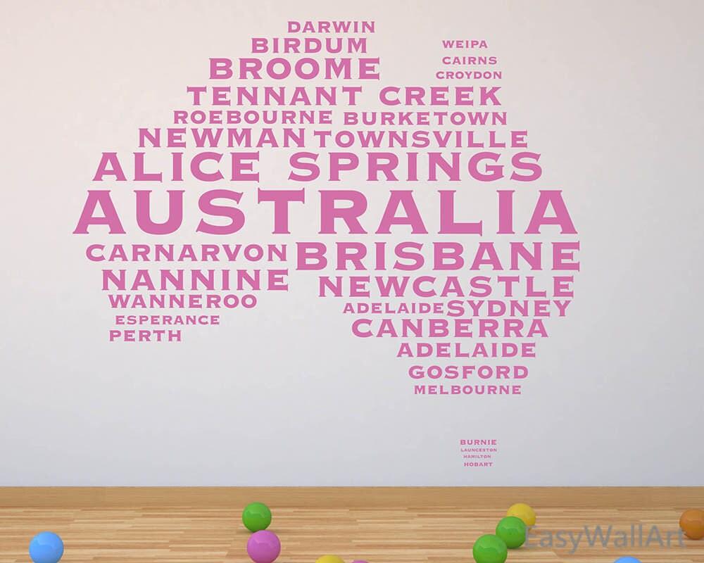 Australia Map Wall Decal Australia Map With Citys Name - Custom vinyl decals brisbane