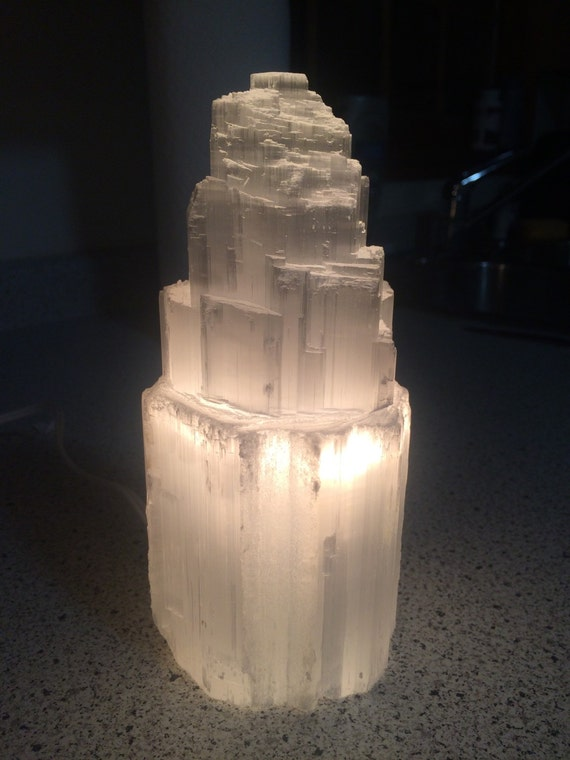 Selenite Lamp - selenite - Raw Selenite Tower - 8