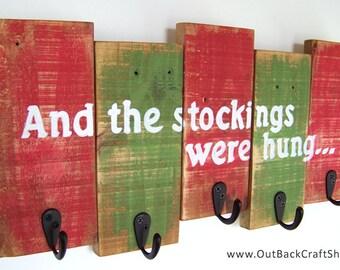 Christmas Stocking Holder with Distressed Finish; Reclaimed Wood Christmas Decoration; Stocking Hanger; Christmas Decor; Rustic Decor;
