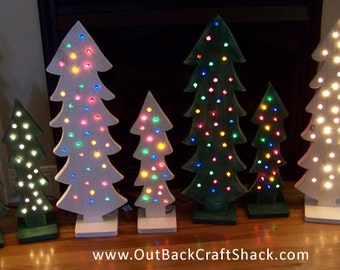 wood christmas tree with lights christmas decorations distressed wood green or white tree - Christmas Tree With Lights
