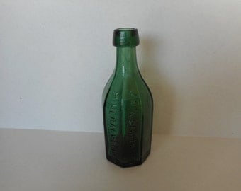 Wm. A. Carpenter's Eight Sided Mineral Water Bottle...Hudson N.Y...Emerald Green Bottle..Rare 1800's Collectible Bottle...Antique Bottle.