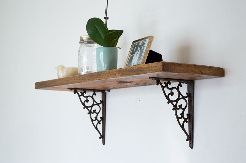 reclaimed wood shelf rustic wood shelves by bydadanddaughter. Black Bedroom Furniture Sets. Home Design Ideas