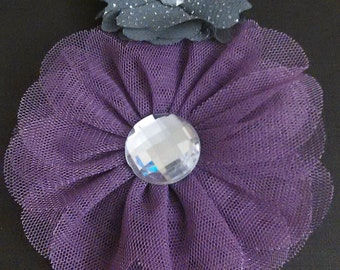 purple and gray gemmed headband