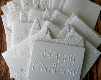 Birthday Card Set of 14, Assorted White Embossed Birthday Cards, Assorted Birthday Cards, Birthday Greeting Cards, Birthday Variety Pack