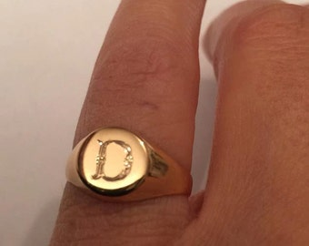 Engraved ring, Personalized Ring, Signet Ring, women ring, Initial ring, Gift for women, Monogram Initial Ring, letter Ring , Pinky ring