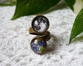 Earth and Full Moon Double Ring Universe Ring Earth Jewelry Full Moon Ring