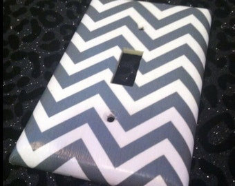 Grey and White Chevron Custom Light Switch Plate Cover - Home Decor *Choose Cover Type*