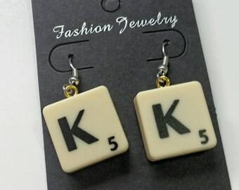 Personalised earrings, initials earrings, letter earrings, alphabet earrings,  scrabble earrings, personalized earrings, wedding favours