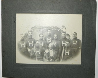 Early 1890's Baseball Team Cabinet Photograph with multiple workman style gloves on display