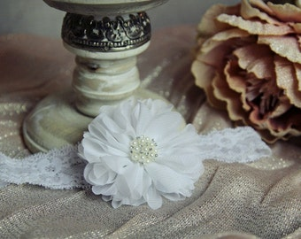 White Flower Lace Headband