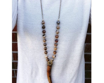 Horn Necklace with Neutral Jasper Beads on Brass Chain