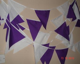 Purple and white wedding/celebration 30ft fabric bunting