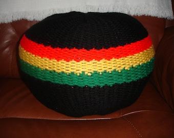 Rastafarian coloured pouf/ floor cushion/ ottoman / footstool